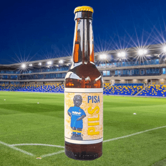 bottle of beer on a football pitch